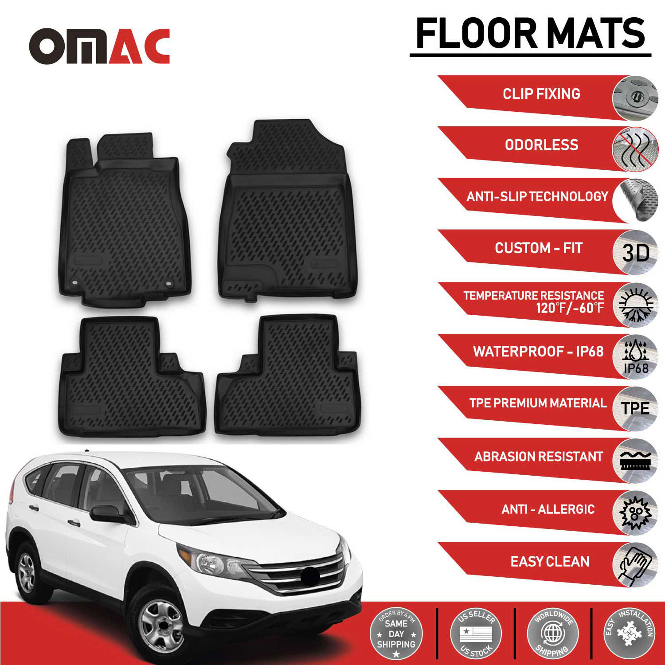 Details About Honda Cr V Floor Mats Liner Molded Fit Black Interior Protector Set 2017 2016
