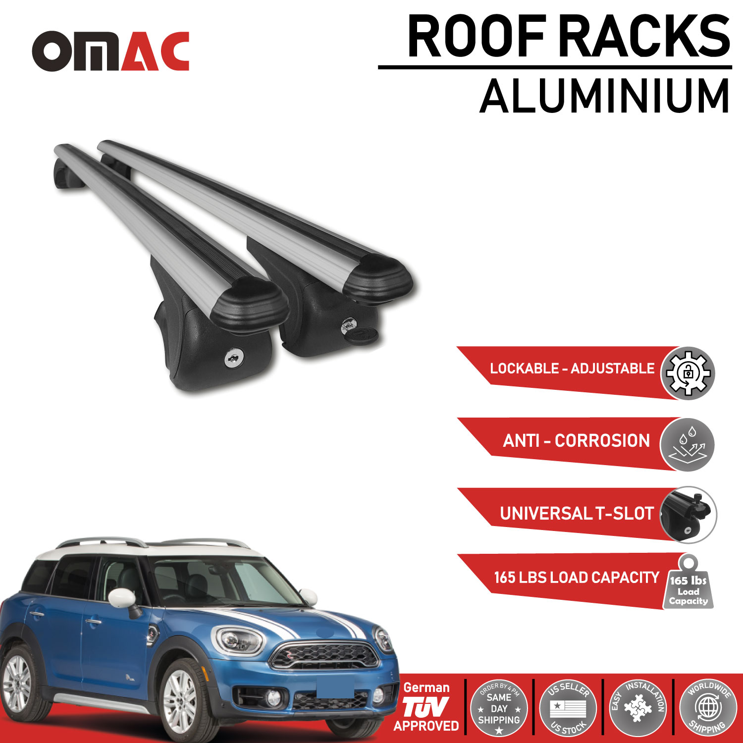 ALUMINIUM ROOF RAILS BARS MINI Clubman COOPER 2013