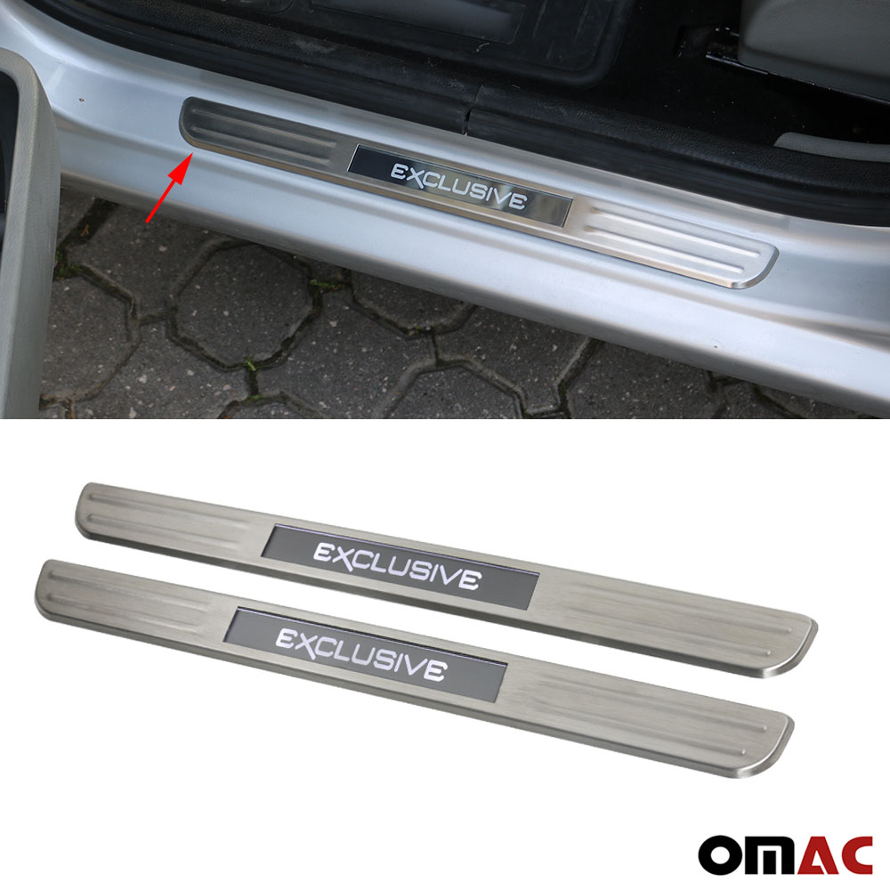 Brushed Chrome LED EXCLUSIVE Door Sill Cover Scuff Plate S.Steel 21 ...