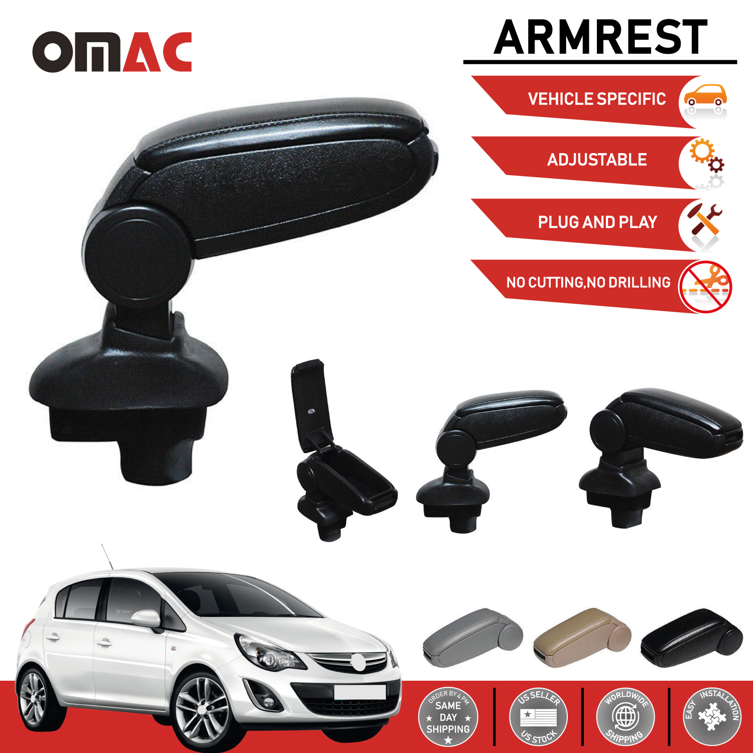 since 2006 Armrest Center times Leather Cover Black for Vauxhall Corsa D