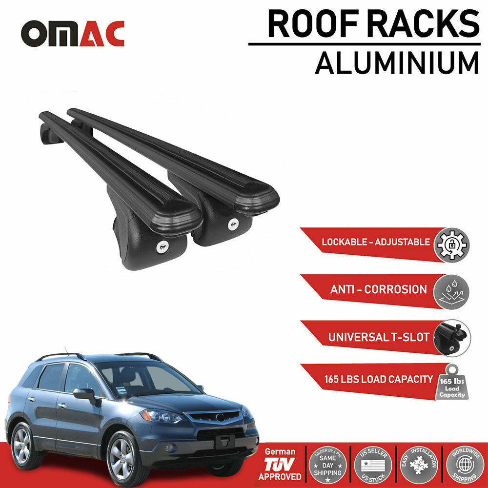 Roof Rack Cross Bars Luggage Carrier Black Set For Acura